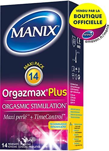 MANIX orgazmax plus préservatifs maxi perlés et retardants effet longue durée - pack de 14