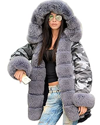 f1cd63ae42f4 Roiii Women Winter Camouflage Thick Grey Faux Fur Parka Long Hooded Jacket  Outwear (8,
