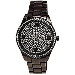 NY London designer Strass Damenuhr mit römischen Ziffern in Schwarz Anthrazit Damen Uhr inkl.Uhrenbox