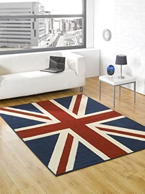 "Buckingham Great Britain Flag Union Jack Design Blue Red White Rug 120 x 160 cm (4' x 5'3"") Carpet - cheap UK rug store."