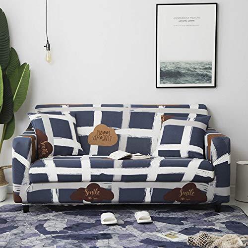 Housse de canapé à Carreaux Housses de canapé élastiques pour Salon Causeuse Stretch Couvre Meubles Housses de Protection pour fauteuils Couch Cover 1PC-Color 23,1-Seater (90-140cm)