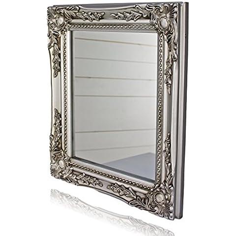 32x27x3cm specchio a parete rettangolare, fatti a mano cornici antiche d'epoca in legno, argento, incl. Assembly