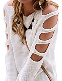HENGSONG Femmes Casual Rétro Epaule Off Manches Longues Col Pull Sweater En Tricot Top Blouse