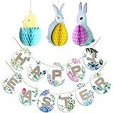 Konsait Frohe Ostern Girlande Banner mit 3Ppcs Hängende Osterhase Küken Eier Ornamente für Ostern Party Dekoration kinder geschenke