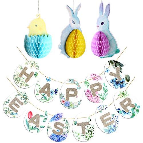 Howaf buona pasqua striscioni bandierine con 3ppcs pasqua decorazioni da appendere coniglietto pulcini uova nido d'ape per pasqua decorazioni casa primavera del partito decorazioni favori forniture