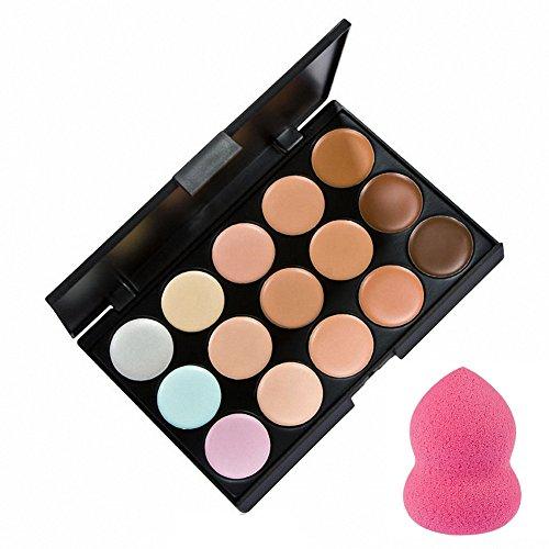 La Cabina Set 15 Couleurs Palette de Maquillage Correcteur + 1 PC Éponge Houppe à Poudre en Forme de Gourde
