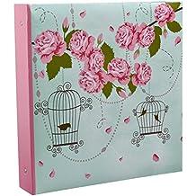 Arpan - Álbum de fotos grande con anillas para 500 fotos de 10 x 15 cm, con diseño vintage con pájaros en jaulas y color rosa