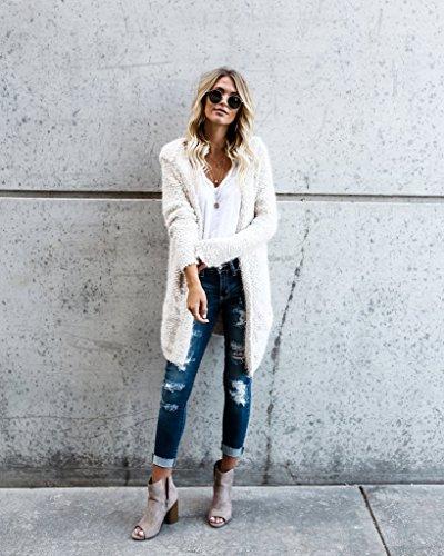 Minetom Femme Décontracté Manches Longues Tricoté Cardigan Ouvert Couleur Unie Manteau Mode Veste à Capuche Chandails Outwear Tops Blanc