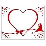 HOCHZEITSHERZ Laken Zum Ausschneiden, Gratis 2 Scheren & Geschenkkarton, Partyspiel zur Hochzeit, Geschenk Herz Laken (Brautpaar)