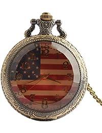 joielavie reloj de bolsillo la bandera americana Dial números arábigos cristal transparente diseño de rayas grabado cuarzo calmshell Simple clásica aleación collar reloj regalo para hombres mujeres
