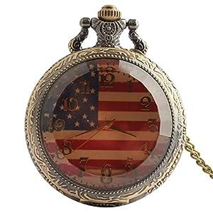 Joielavie Taschenuhr, amerikanische Flagge, Zifferblatt, arabische Ziffern, transparentes Glas, gestreift, Quarz-Uhrwerk, ruhig, einfache klassische Legierung, Halskette, Geschenk für Männer und Frauen
