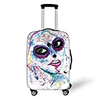 Travel Luggage Cover Suitcase Protector,Girls,Grunge Halloween Lady with Sugar Skull Make Up Creepy Dead Face Gothic Woman Artsy,Blue Purple,for Travel,M