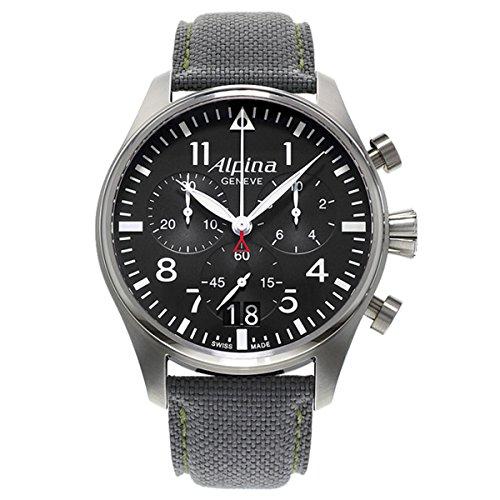 Alpina Herren-Armbanduhr XL Startimer Pilot Chronograph Quarz Nylon 372B4S6