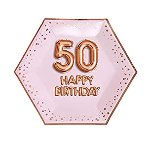 Neviti- Glitz & Glamour-Plate-Large-Pink & Rose Gold-Age 50 Papel (773222)