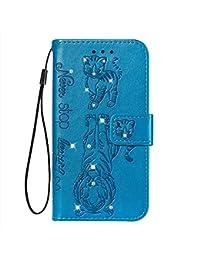 Fatcatparadise Funda para Xiaomi Redmi 7A [con Protector Pantalla], Carcasa con Tapa Flip Case Antigolpes Parachoques Golpes Cartera Billetera PU Cuero Suave Case Cover (Azul)