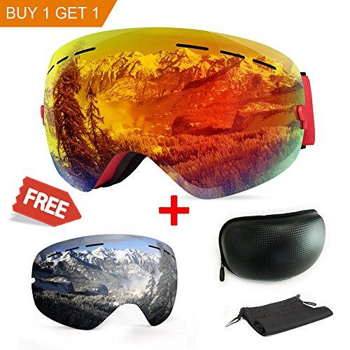 Maschera da sci, antiappannamento, con protezione uv, con doppie lenti intercambiali, ideale per lo sport invernale come lo snowboard, il pattinaggio, lo sci, per uomini e donne, orange