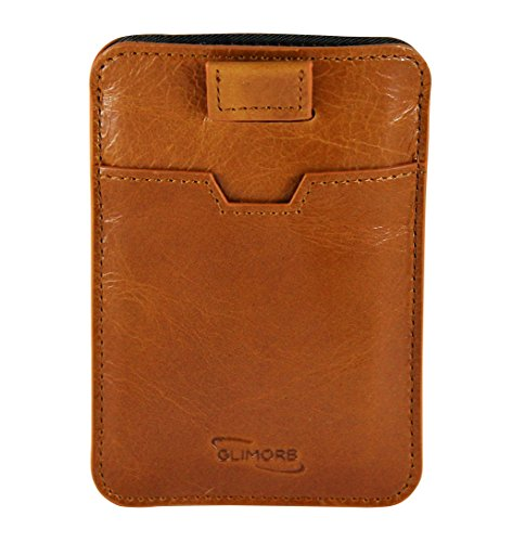 Kreditkartenetui mit RFID Schutz von GlimOrb. Leder Geldbeutel und Kreditkartenhülle, sicherer NFC Blocker, Schutzhülle für bis zu 10 Karten (Klappe Übergroße)