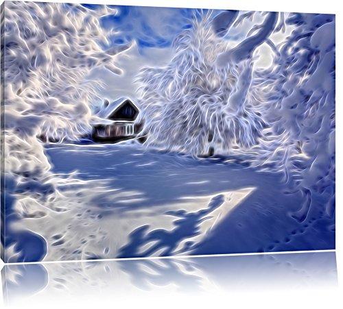 Paesaggio con neve, pittura su tela, Immagini XXL completamente incorniciate con grandi cornici di cuneo, foto muro Stampa artistica con cornice, più economico di pittura o di un dipinto a olio, non un manifesto o un cartello, Leinwand Format:120x80