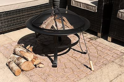 LIVIVO ® Round Outdoor Patio Fire Pit With Spark Guard & Poker and Curved Legs - Outdoor Fireplace Heater for Garden Camping BBQ Picnics Holiday Festivals Heater For Logs & Charcoal with Mesh Screen