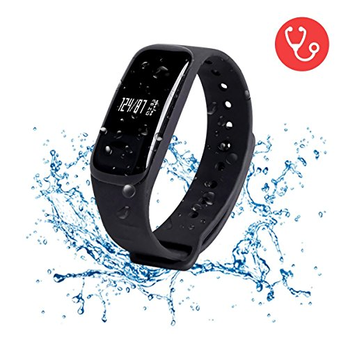 WEARFIT Fitness Tracker Watch Bluetooth Smart Band Sleep Monitor Wristband Pedometer Call Remind Wearable Smart Bracelet OLED Touch for Android IOS Smart Phone