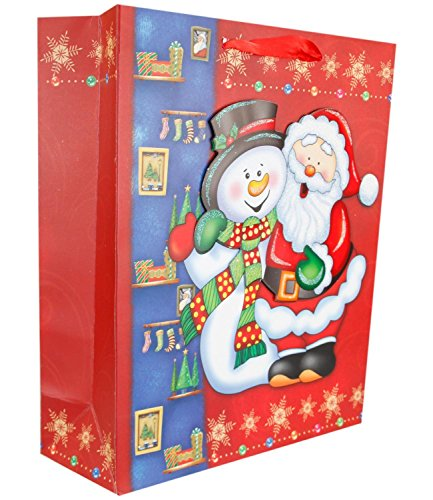 New Stylish Christmas Festive Gift 3 D Xmas Party Wrapping Novelty Paper Bags