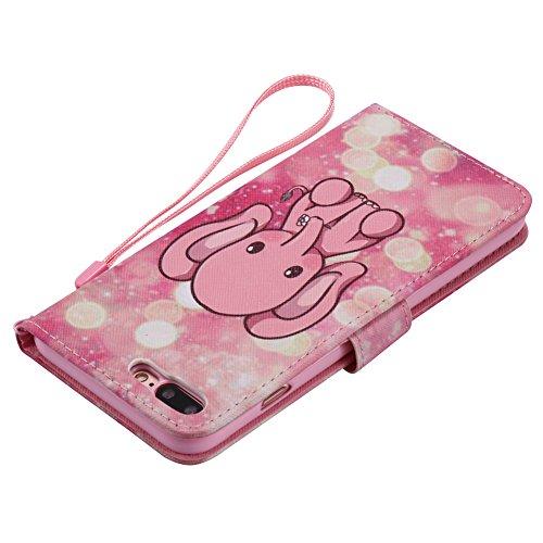 iphone 8 plus Brieftache,Flip Handyhülle iphone 8 plus 5.5 Zoll, Aeeque iphone 8 plus [Don't Touch My Phone] Kartenfächer Standfunktion mit Schwarz Abnehmbar Handy Lanyard und Weich Silikon Innere Boo Cute Rosa Elefant