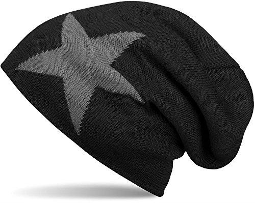 styleBREAKER warme klassische Strick Beanie Mütze mit Stern und sehr weichem Innenfutter, Unisex 04024026 -