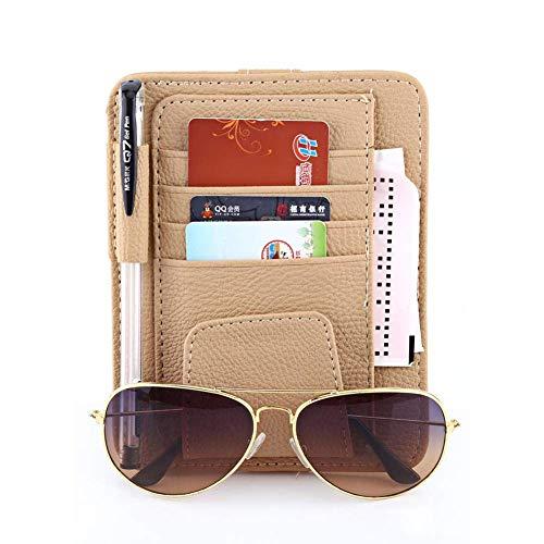 LILITRADE Auto Sonnenblende Tasche, Auto Kartenhalter Organizer mit Haken und Ösen aus PU-Leder für Stift, Karte, Rechnung, Gläser(Beige)