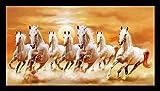 #5: PAF Vastu Seven Lucky Running Horses Framed Wall Art Paintings (Wood,35cmx 2Cmx 50Cm)