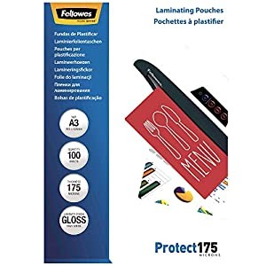 Fellowes Protect A3 175 Micron Glossy Laminating Pouches (Pack of 100)