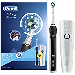 Oral-B PRO22500CrossAction Brosse à Dents Électrique Rechargeable par Braun, 1Manche Noir, 2Modes dont Douceur, 1Brossette, 1Étui de Voyage