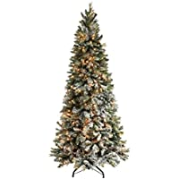 WeRChristmas Pre-Lit Slim Snow Flocked Spruce Multi-Function Christmas Tree, 2.1 m - 7 feet with 400-LED Lights, Green