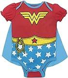 DC Comics Body Naissance Wonder Woman - Costume Robe avec Cape - Manches Courtes - Bébé Fille - Étoiles Rouges 12-18 Mois