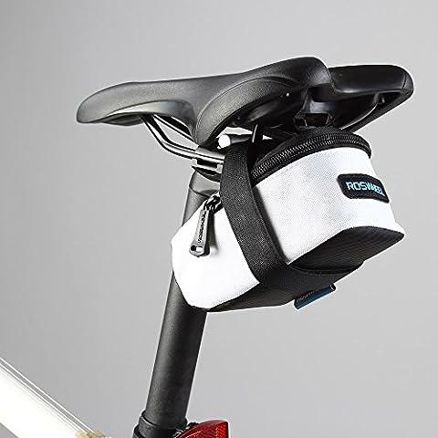 intellatrust (TM) ROSWHEEL fixe Cale-pieds pour vélo de route de vélo VTT selle Tige de selle siège arrière de cyclisme queue Pochette paquet Sac Taille M/L Blanc blanc moyen