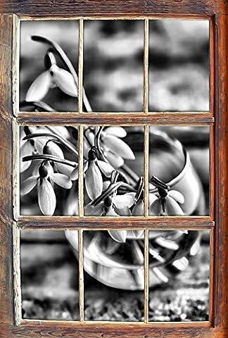 Monocrome, Schneeglöckchen in der Vase Fenster im 3D-Look, Wand- oder Türaufkleber Format: 62x42cm, Wandsticker, Wandtattoo, Wanddekoration