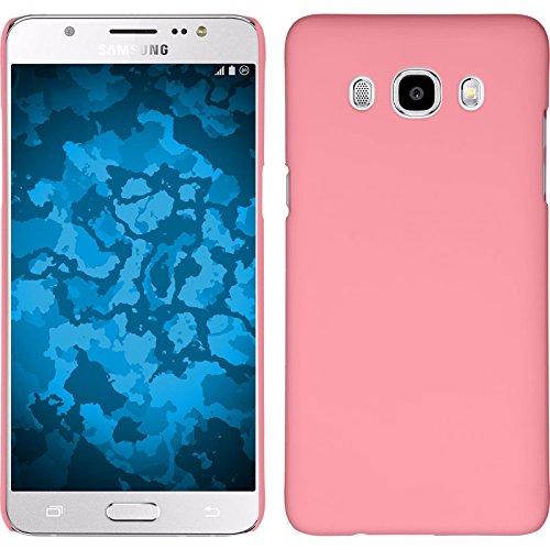 PhoneNatic Case kompatibel mit Samsung Galaxy J5 (2016) J510 - Hülle rosa gummiert Hard-case + 2 Schutzfolien