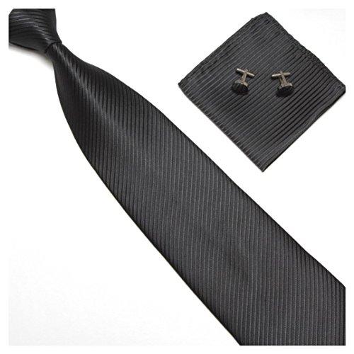 Streifenkrawatte Set Streifen Krawatte Einstecktuch Knöpfe Manschetten Hochzeit (Schwarz) (Schwarz Und Rosa Krawatte)