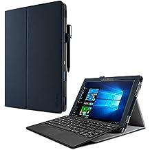 Lenovo Miix 510 Funda Case, Infiland Folio PU Cuero Cascara Delgada con Soporte para Lenovo Miix 510 Windows 10 Convertible Laptop Tablet, Azul Oscuro