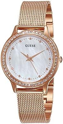 Guess W0647L2 - Reloj con correa de metal, para mujer, color nácar / rojo