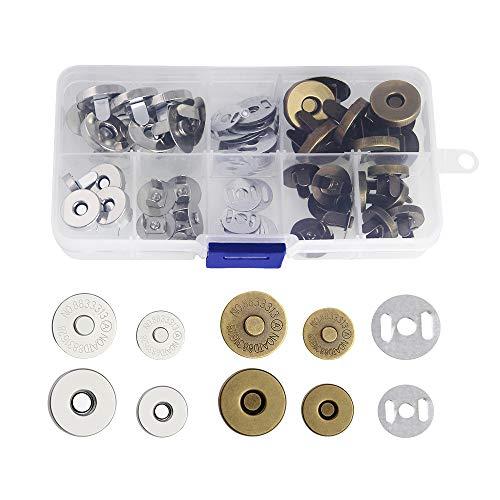 CODIRATO 20 Stücke Magnetknopf 14mm und 18mm Magnetverschluss Bronze und Silber Magnetische Knopf für DIY Mäntel, Jacken, Windbreaker, Jeans, Geldbörse, Rucksack