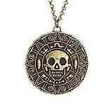 Samt-Box-Bronze-Pirates of the Caribbean Azteken-Medaillon-Anhänger mit Totenkopf-Kostüm Halskette