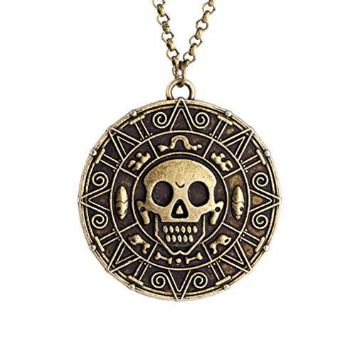 Samt-Box-Bronze-Pirates of the Caribbean Azteken-Medaillon-Anhänger mit Totenkopf-Kostüm ()