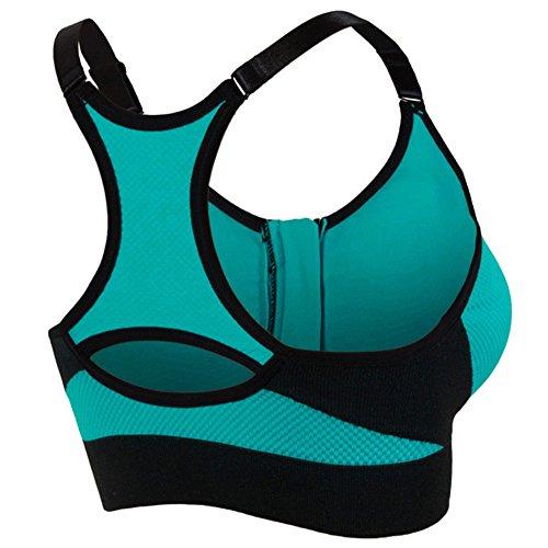 Soutien-Gorge De Sport Femme Brassiere Running Yoga Bra Avant Zipper Bleu