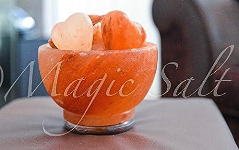 Magic Salt ® Big Bowl feu Sel gemme Lampe 2 en forme de coeur conçu en pierre de sel supplémentaire, 5-6 kg