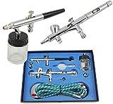 AIRBRUSH PISTOLEN SPRITZPISTOLEN DOUBLE-ACTION BD-280 KOMPLETT-SET mit 1,8 m Schlauch und 4 verschiedenen Düsen und Nadeln (0,2mm 0,3mm 0,35mm 0,5mm)