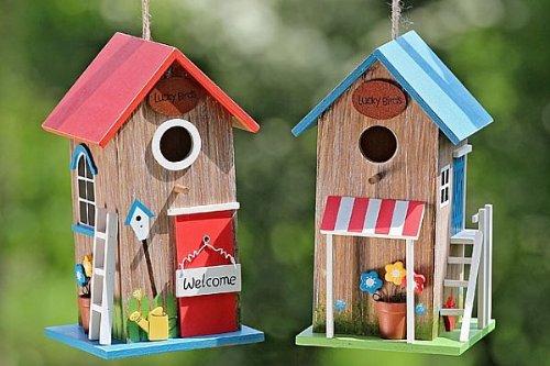 """Vogelhaus """"Lucky"""" zum Hängen Sperholz bunt Vogehäuschen"""