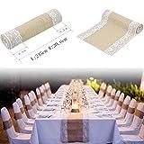 """Table Runner Corridore della tabella del iuta tela Tappeto da tavolo in pizzo festa nuziale esterna Décor 12""""x108"""" (Style 2)"""