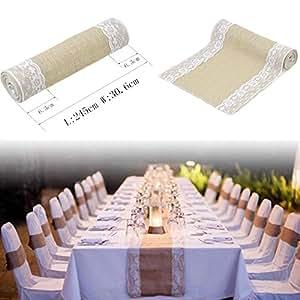 zm chemin de table burlap nappes decoration mariage maison f te etc l cuisine. Black Bedroom Furniture Sets. Home Design Ideas