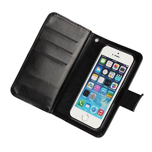 MOONCASE IPhone 5/5S/iPhone SE Étui, Multifonction 2 en 1 détachables Housse en Cuir à rabat Coque de protection Folio Case avec Porte-cartes Fentes Fermeture Magnétique pour iPhone 5G / 5S / SE Bleu Rouge