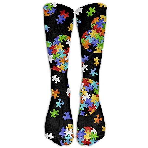 Colorful Autism Awareness Puzzle Pieces Heart Casual Unisex Sock Knee Long High Socks Sport Athletic Crew Socks One Size